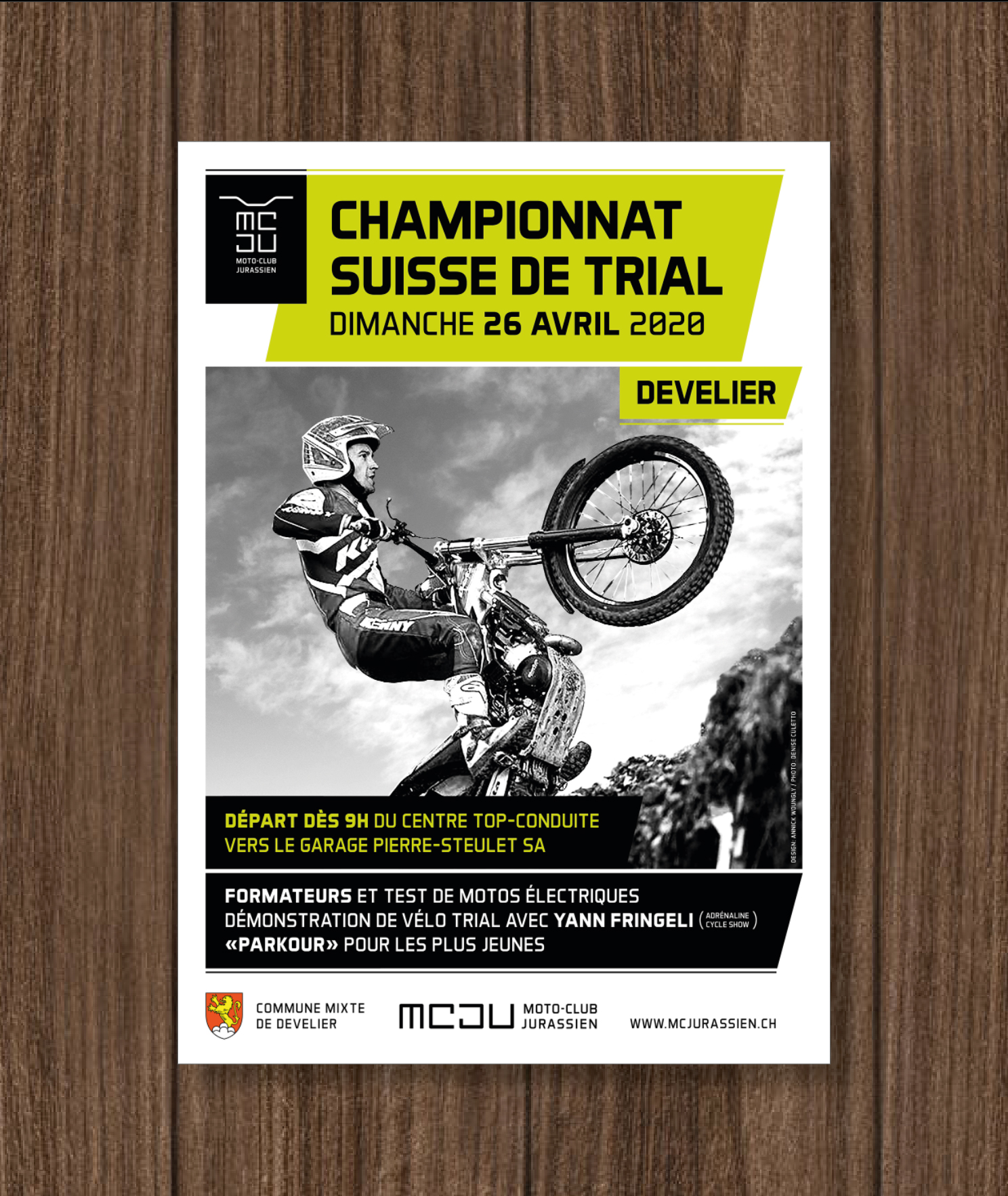 Moto Club Jurassien Poster Concept. Real poster. Trial Swiss Championship.